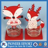 Wooden Fox and Deer with Glass Holder for Christmas Candle Holder