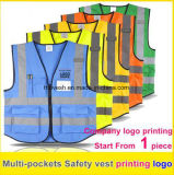 High Visibility Safety Reflective Vest Print Logo Work Vest Multi Pockets Uniform