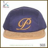 Wholesale Cotton Embroidered Suede Brim 5 Panel Hat