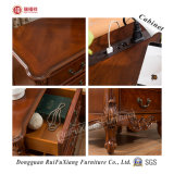 Ruifuxiang Hand Carved Oak Color Wooden Bedside Table (C209)