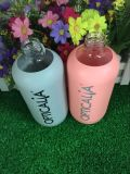 Best Price Hot Sale Cute Small Glass Water Bottle with Colorful Silicone Sleeve