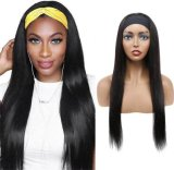 European and American Hair Band Wig Female Natural Color Long Straight Hair Real Hair Cover Th8172