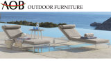 Modern Outdoor Seaside Resort Hotel Lounge Furniture Fabric Recliner Beach Chair Sun Lounger with Wheel and Side Table