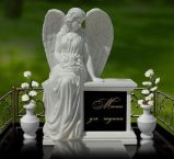 Natural Stone White Granite Tombstone Monument SF-004 for Cremetery Garden