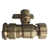 Brass Lockable Ball Valve Connect with PE Pipe and Water Meter
