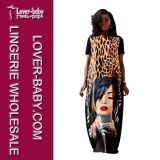 Face and Leopard Printed Sexy Maxi Dress for Lady (L51338)