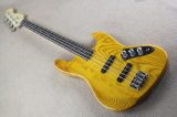 Hanhai Music/4 Strings Retro Yellow Electric Bass Guitar with Ash Body