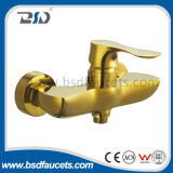 Gold Finish Brass Single Lever Bathroom Bath Shower Faucet Mixer