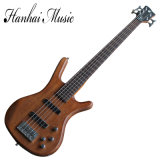 Hanhai Music/Brown 5 Strings Electric Bass Guitar with Rosewood Fingerboard