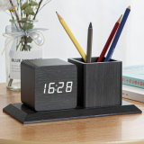 Kh-Wc009 Customized Office Desk LED Digital Wood Table Clock with Pen Holder