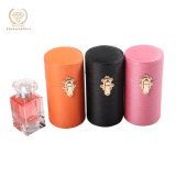 Wholesale Custom PU Leather Round Perfume Gift Box Packaging for 3 Colors Orange Pink and Black