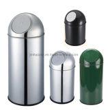 Round Push-Type Stainless Steel Dust Bin