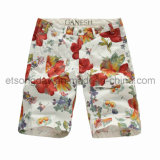 Red Flower Printed 100% Cotton Men′s Shorts (GI1234)