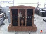 6 Niches Imperial Red Granite Columbarium with Shanxi Black Doors