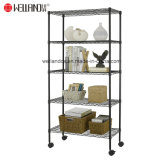 Livingroom 80kg Light Duty Shelf Metal Storage Rack Adjustable 5 Level Shelves Unit on Wheels