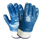 Cotton Knitted Anti-Abrasion Work Gloves with Full Nitrile Coating
