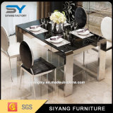 Stainless Steel Furniture Dining Room Black Glass Banquet Table