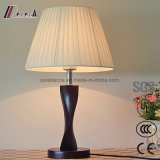 Classical Wood Body White Beige Fabric Shade E27 Table Lamp
