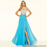 Beading Prom Party Gowns Blue Ivory Evening Dresses Z1045