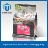 Matte Plastic and Paper Square Bottom Snack Food Packaging with Zipper