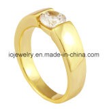 One Stone Diamond 18K Gold Plated Ring Gift for Boyfriend