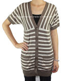 Women V Neck Long Sleeve Cardigan Sweater by Knitting (L15-075)