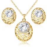 Fashion Hollow Design Alloy Crystal Earring Pendant Necklace Jewelry Set