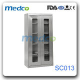Hospital Stainless Steel Base Medicine Storage Cupboard with Knock Down Glass Door