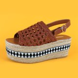 Latest Women Flat Brown PU Woven Platform Ladies Espadrilles Sandal with Ankle Strap
