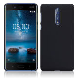 Hard Rubber Slim Armour Back Case Cover for Nokia 8 Soft Feel Jet Black