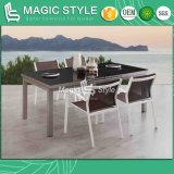 Outdoor Textile Dining Set Garden Extension Table with Glass Aluminum Sling Chair Modern Extension Table Furniture