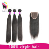 Natural Color Straight Brazilian Remy Human Hair Weave with Closure