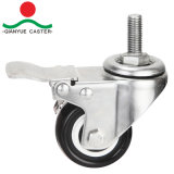 Stainless Steel Screw with Total Brake PU Light Duty Castor