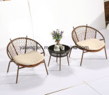 Outdoor Furniture Garden Coffee Bistro Chair and Table Set Using Rope with Aluminum