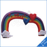 High Quality Rainbow Colorful Inflatable Large Arch for Advertising