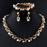 Classic Imitation Pearl Necklace Gold-Color Jewelry Set