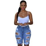 Wholesale Cheap Blue Denim Destroyed Bermuda Short Pants