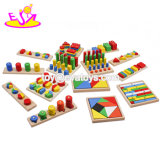 High Quality 14 PCS Baby Teach Aid Combination Wooden Montessori Toys for 3+ Ages W12f033