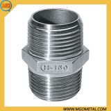 Stainless Steel 1/4 to 4 Inches NPT Threaded Male X Male 150lb Hex Hexagon Nipple Pipe Fitting