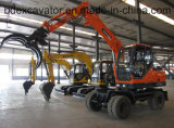 China Small Wheel Excavators with Grasper for Loading Wood/Sugarcane/Straw