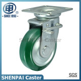 5 Inch Steel-Core Rubber Swivel Caster with Brake