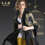 Ms China Golden Dragon Pattern Silk Scarves Black Scarf