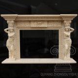 Hot Sale Marble Figure Fireplace Sculpture of Egypt Beige Martial