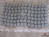 G654 China Dark Grey Granite Cobblestone with Net / on Mesh