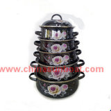 5PCS Set Cast Iron Enamel Casserole Cookware Set Daily Use