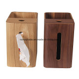Multipurpose Wood Tissue Box Wood Towel Box with Trashcan Garbage Collection