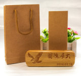 Custom Grooving Bamboo Pen Box with Kraft Bag