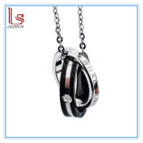 Couples Black Rose Gold Ring Titanium Necklace Pendant Jewelry Decoration