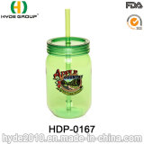 FDA Certificate Single Wall Plastic Mason Jars with Straw