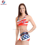 New Fashion Customized Printing Cheerleader Warm up Cheerleading Uniform Top and Shorts Adult Sexy